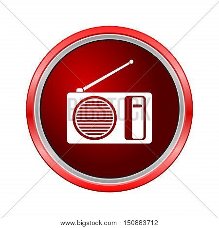 Radio icon, Internet button on white background