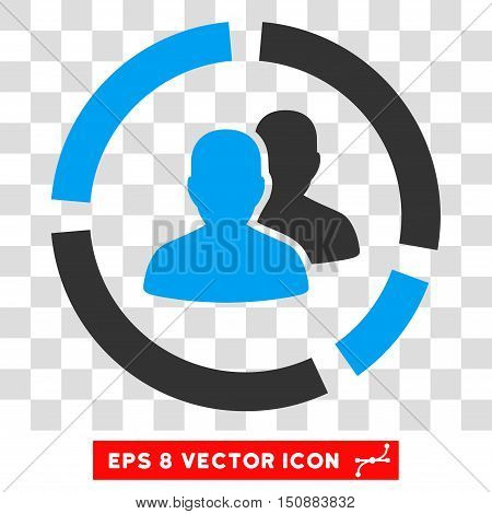 Vector Demography Diagram EPS vector icon. Illustration style is flat iconic bicolor blue and gray symbol on a transparent background.