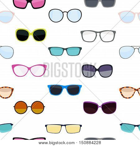 Hipster Summer Sunglasses Fashion Glasses Collection Seamless Pattern Background Vector Illustration EPS10