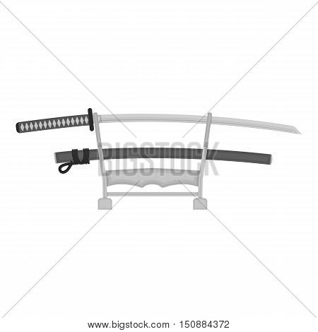 Katana icon in monochrome style isolated on white background. Japan symbol vector illustration.