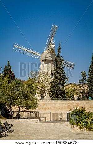 The Montefiore Windmill opposite the western city walls of the Old City in Jerusalem Israel