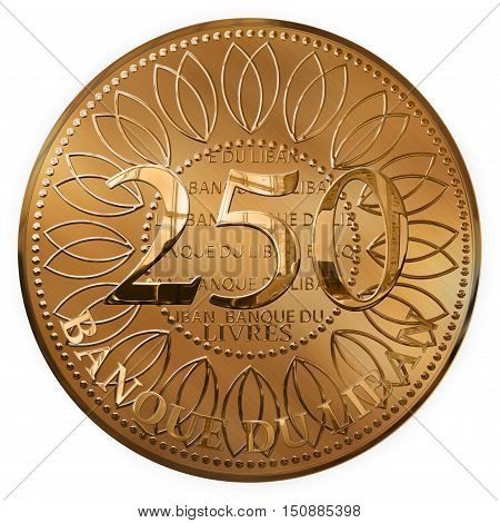 Isolated 3d Render Of A Golden Two Hundred Fifty Pounds Coin From Lebanon