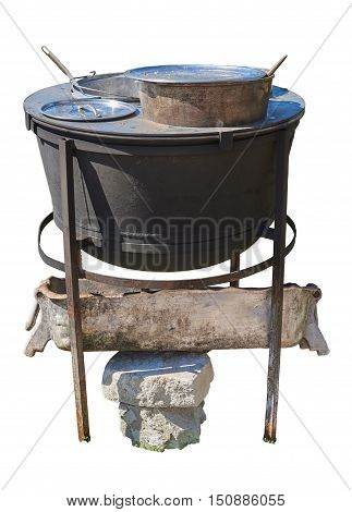 Plate for cooking in a water bath. Under the plate metal trough open fire. Isolated on a white background