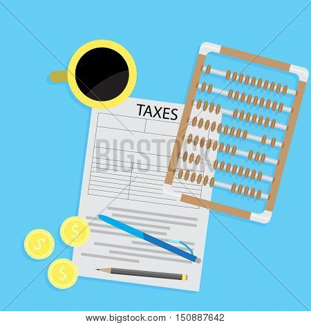 Tax day declaration flat concept. Tax form with coffee and abacus calculator. Accounting and money taxation and taxes money Vector illustration