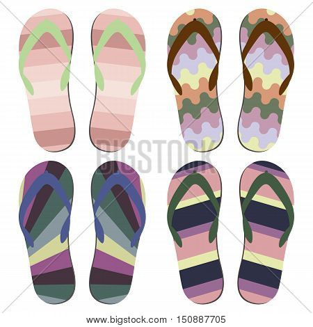 Set of Beach Slippers. Colorful Summer Beach Sandals Over White Background