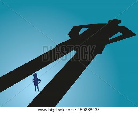 Under A Shadow Business Metaphor For Living Under A Powerful Leader Or Small Business Competing Agai