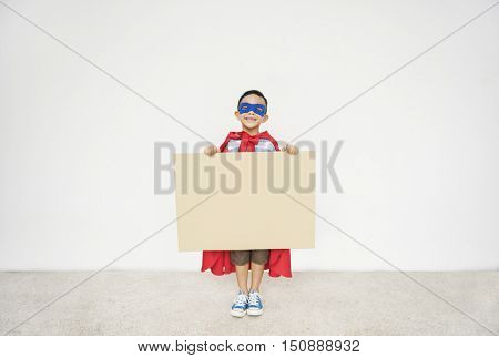 Superhero Kid Placard Copy Space Playful Concept