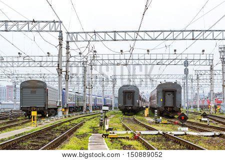 Railcars On Railroad Tracks, Russia