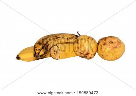 bananas and pears isolated on the white background Whole banana half banana. Banana on a white background. Pears on white.