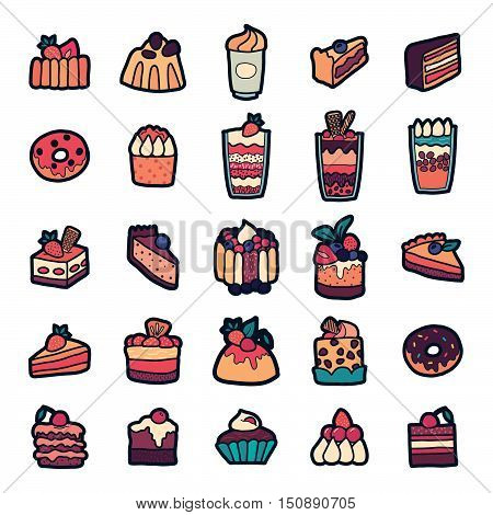 Set of Fashion patch badges with cute sweets - ice cream pudding donut cake cheesecake. Perfect design for stickers pins embroidery patches. Vector illustration isolated on white background.