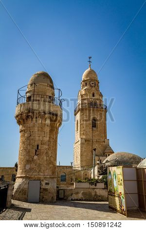 The Bell Tower of Dormition Abbey outside the walls of the Old City of Jerusalem Israel