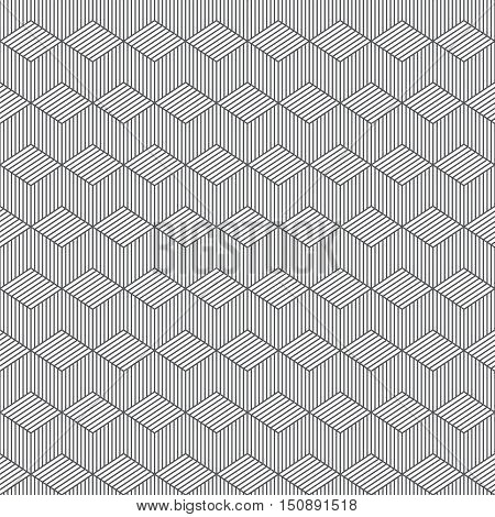 Seamless pattern. Classic abstract geometric background. Modern linear texture with thin lines. Regularly repeating geometrical tiled grid with striped rhombus diamond. Vector contemp design