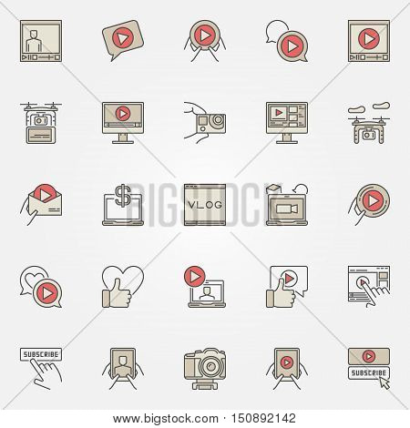 Colorful icons for video blog. Vector video blogging symbols. Flat creative vlog signs