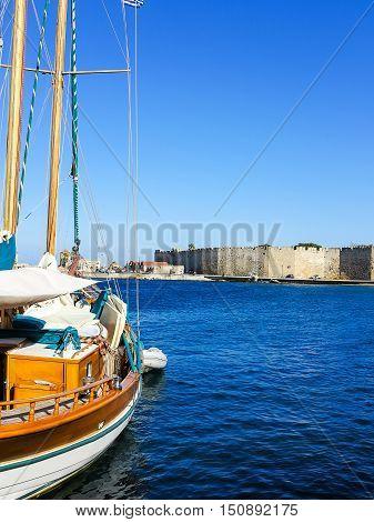 Beautiful historical Mandraki Harbour on the Island of Rhodes, Greece