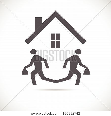Illustration of an abstract design of two running figures escaping