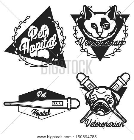 Vintage veterinarian emblems and logotype elements for pet shop, pet house, pet and animals clinic.