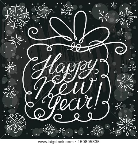 Happy New Year lettering composition. Vector hand drawn calligraphic letters and background for seasonal greeting - cute gift box with line art bow and snowflakes