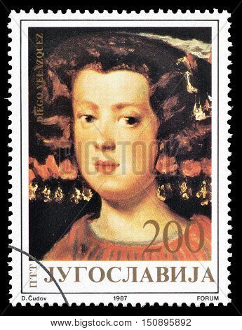 YUGOSLAVIA - CIRCA 1987 : Cancelled postage stamp printed by Yugoslavia, that shows Painting by Diego Velazguez.
