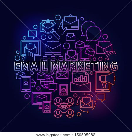 Colorful email marketing illustration. Vector round digital marketing symbol in thin line style on dark background