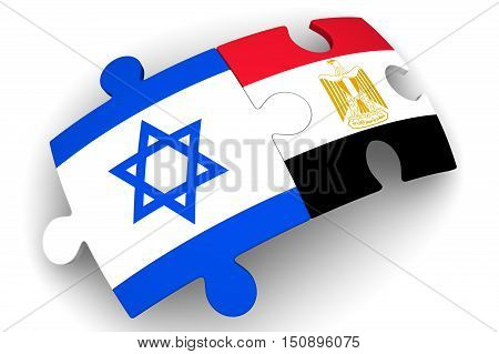 Cooperation between Israel and Egypt. Puzzles with flags of Israel and Egypt on a white surface. The concept of coincidence of interests in geopolitics. Isolated. 3D Illustration