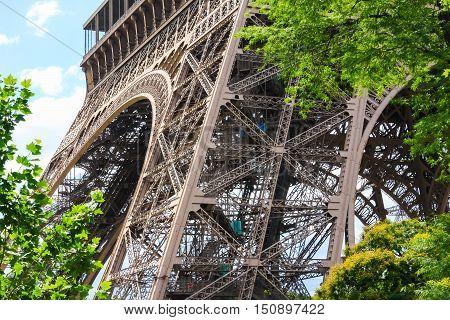 Eiffel Tower detail and architecture, close-up, Paris, France