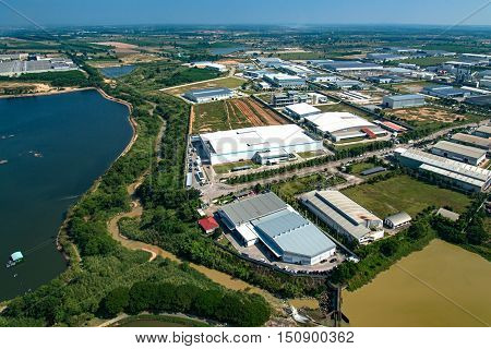 Industrial estate land development water reservoir aerial view
