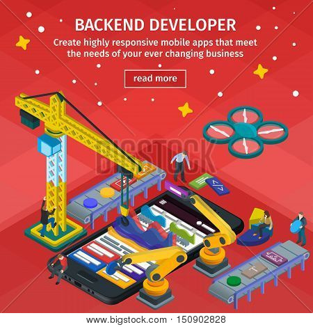 Developing mobile applications flat 3d isometric style. People working on startup. Red web design. Backend developer app. 3d crane and robotic arm. Flat 3d infographic vector illustration. Black smartphone in 3d style.