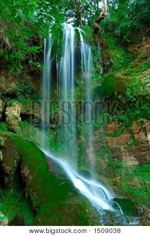 Magic Waterfall In The Forest In Bulgaria