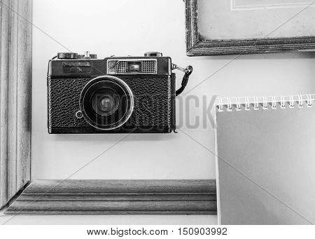 Memoirs diaries cameras old frame white background notebook poster