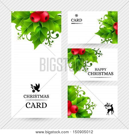 Christmas banners with holly leaves, red holly berries and ornamental snowflakes. Winter holiday backgrounds with decorations and greeting text. Vector illustration.