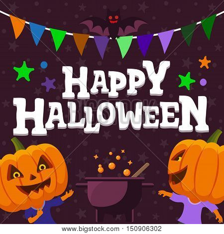Halloween party background. Man with a pumpkin head vector flat illustration. flat bat and festive ribbon. Funny halloween personage.
