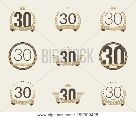 Thirty years anniversary logotype with branches, ribbons, wings, crowns. 30th anniversary logo collection. Vector illustration.