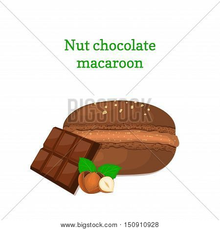 Vector illustration of a delicious French dessert. Macaroon chocolate with hazelnuts. Macaron delicious chocolate nutty sweetness isolated on white background to design a menu, packaging, confectionery decoration