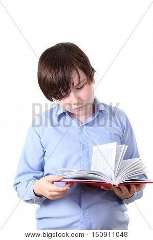 Schoolboy Reading A Book