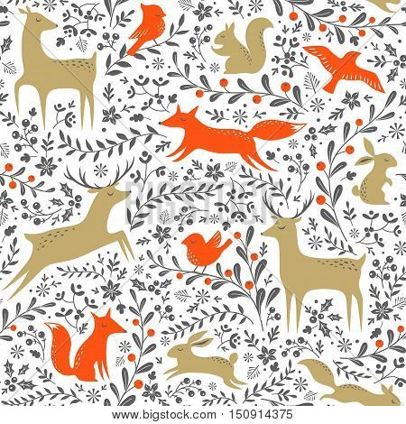 Christmas floral seamless pattern with woodland animals on white background