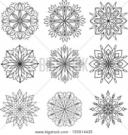 Hand drawn stylized vector set of mandala.