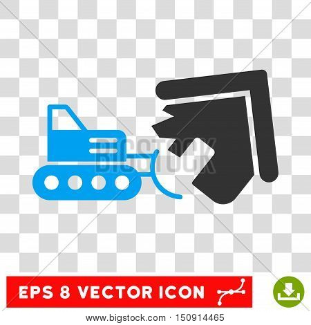 Vector Demolition EPS vector pictogram. Illustration style is flat iconic bicolor blue and gray symbol on a transparent background.