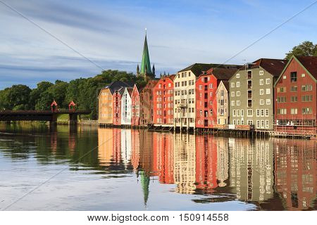 Old wooden storehouses the river Nidelva, Trondheim, Norway
