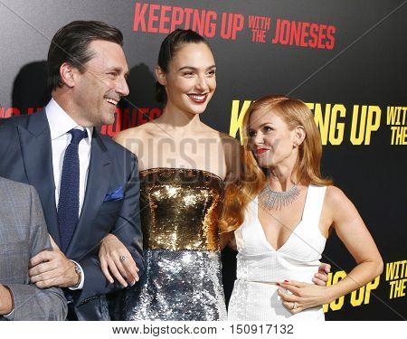 Isla Fisher, Jon Hamm and Gal Gadot at the Los Angeles premiere of 'Keeping Up With The Joneses' held at the Fox Studios in Los Angeles, USA on October 8, 2016.
