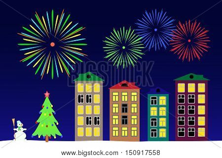 Vector illustration the new year night in the town.