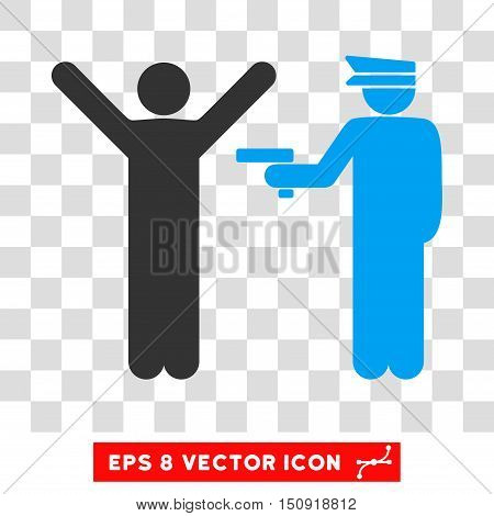 Vector Police Arrest EPS vector pictogram. Illustration style is flat iconic bicolor blue and gray symbol on a transparent background.