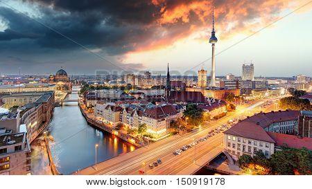 Berlin panorama at a dramatic sunset, Germany