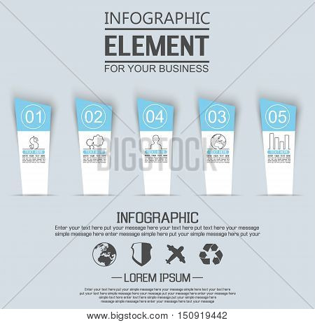 ELEMENT FOR INFOGRAPHIC TEMPLATE GEOMETRIC FIGURE STIKER NUMBER OPTION THIRD EDITION BLUE