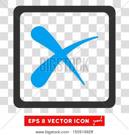 Vector Reject EPS vector icon. Illustration style is flat iconic bicolor blue and gray symbol on a transparent background.