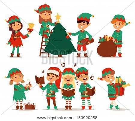 Santa Claus kids cartoon elf helpers vector illustration. Santa Claus elf helpers children. Santa helpers traditional costume. Santa family elfs isolated on background. Santa Claus elf christmas kids