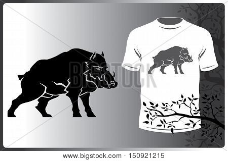 Vector isolated silhouette logo animal picture wild boar. Print logo on a T-shirt or a wild boar
