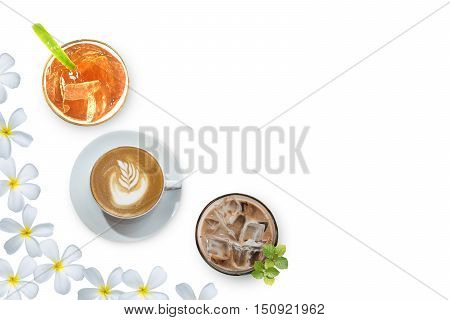 Collection beverage over Frangipani flower beautiful composition on white as background