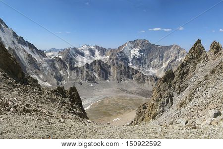 From the pass the Trident on the mountain Creek Barkrak. The Western Tien-Shan. Uzbekistan.