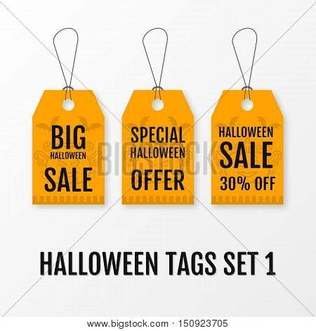 Halloween big sale tags set vector isolated templates. Sale sticker with special advertisement offer. Special offer tag with pumkin bats, candies and graves. Illustration for 31 october