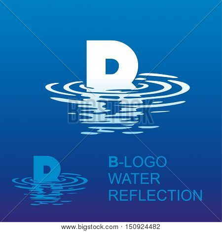 Template B brand name companies. Corporate style for the letter B: logo, background. Creative logo letter in the reflection in the water